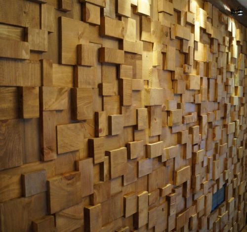 Art Wall covering by wooden blocks