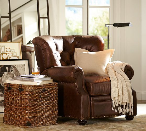 Lansing Leather Recliner | Pottery Barn wicker with leather