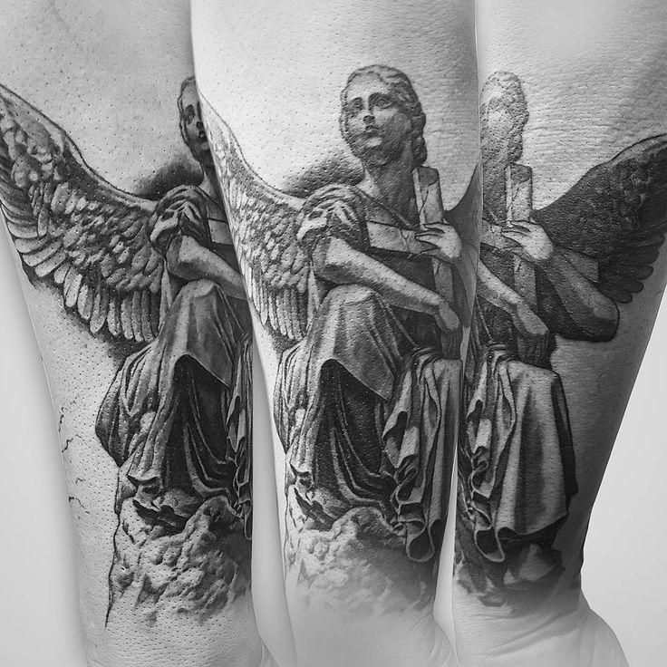"Erste Teil eines Sleeves #mdkink #tattoo #art #design #angel #spiritual #cross #hope #tattooartist"""