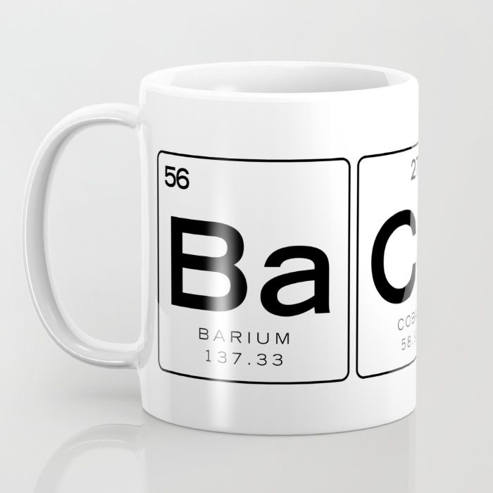 the chemistry of bacon funny nerdy periodic table mug by sipstudio society6