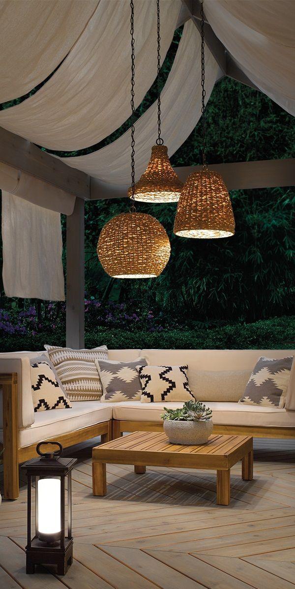A Gathering Outdoor Corner That Promotes Relaxation Suspension Exterieure Espaces De Vie Exterieurs Eclairage Exterieur Terrasse