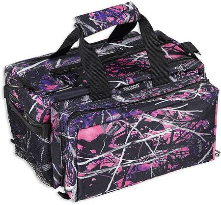 Muddy Girl Camo range bag is perfect for the recreational shooter - vivid shades of pink and purple, with bold black and white tones!