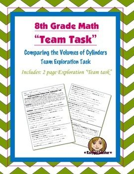 """This is an exploration task on the concept of Comparing the Volumes of Cylinders.This is a 2 page team exploration task. In this task students will take turns as """"Team Mathematician"""".  The team will discuss and make a prediction of the cylinder volumes in order from least to greatest."""