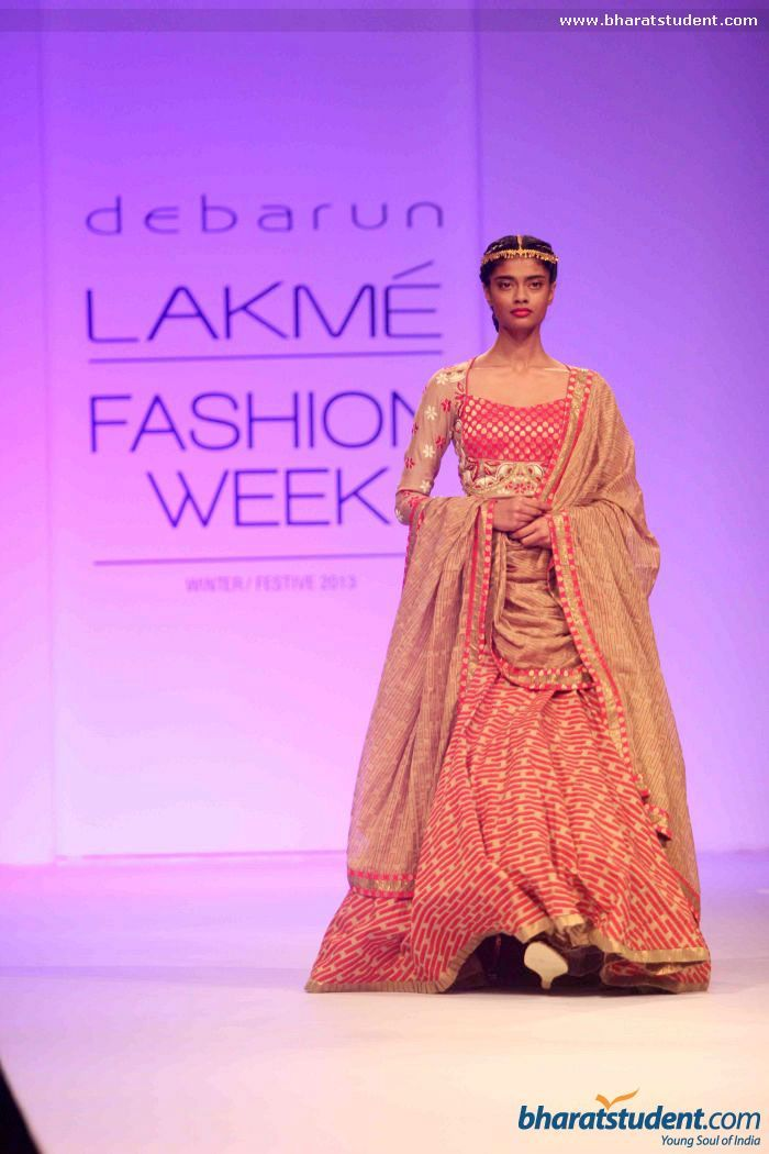Red Lengha by Debarun Mukherjee at LFW 2013