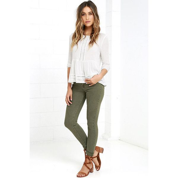 RES Denim Harry's Hi Olive Green High-Waisted Skinny Jeans (£89) ❤ liked on Polyvore featuring jeans, green, denim skinny jeans, olive green skinny jeans, high rise skinny jeans, high-waisted jeans and high rise white skinny jeans