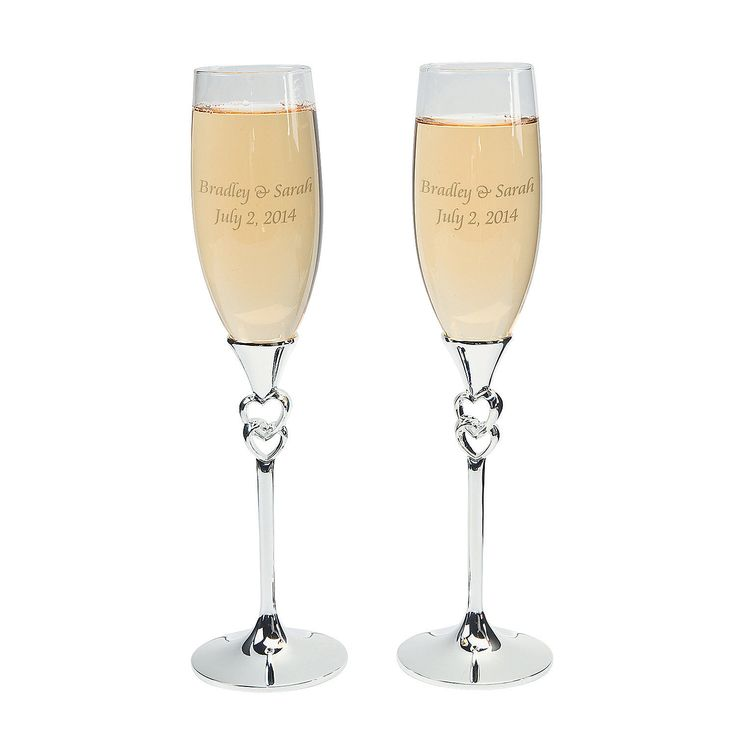 Personalized Twisted Stacked Hearts Wedding Flutes - OrientalTrading.com