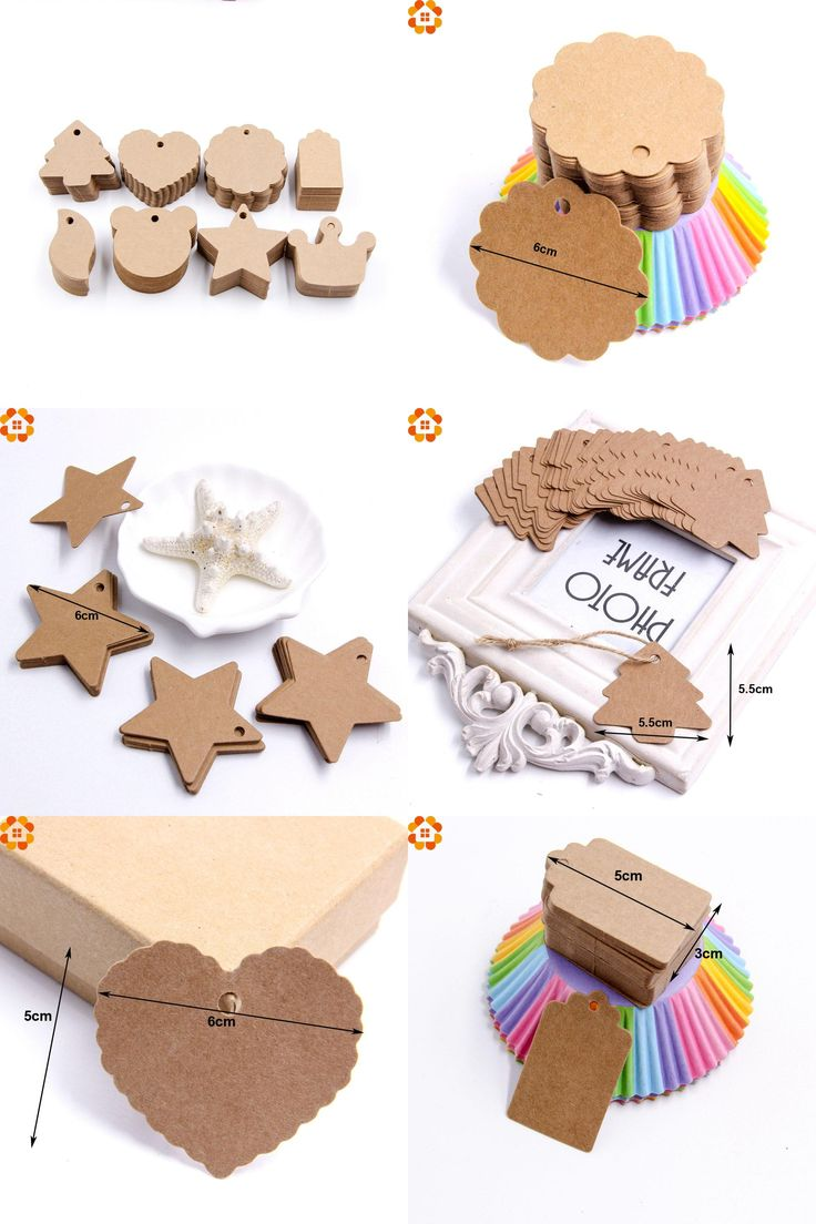 [Visit to Buy] 50Pcs DIY Kraft Paper Tags Brown Lace Multi shapes Label Luggage Wedding Note Blank price Hang tag Kraft Gift Wrapping Supplies #Advertisement