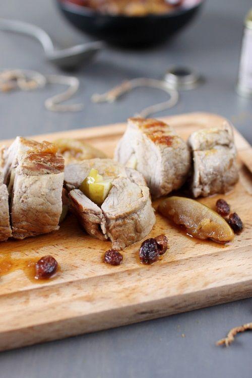Filet mignon au curry, miel, pomme et raisin sec