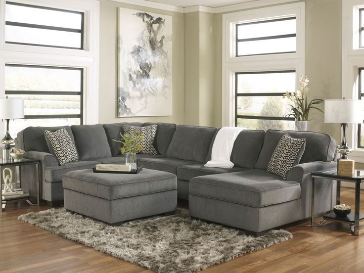 Oversized Modern Gray Fabric Sofa Couch Sectional Set Living Room