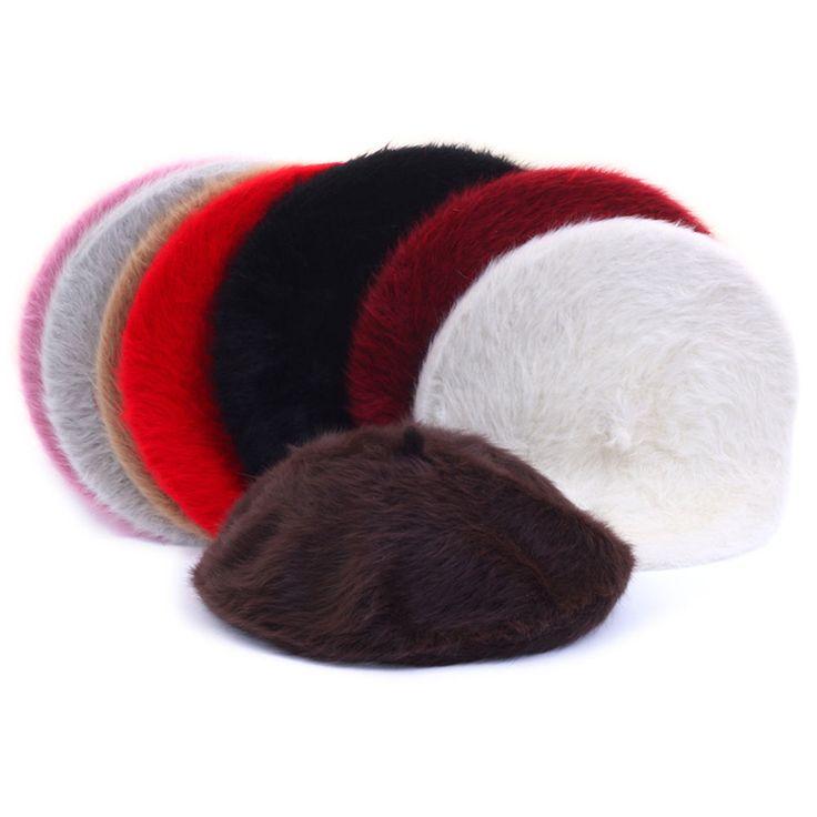 New Womens Ladies Wool Angora Beret Beanie Warm Soft Solid Caps Hats 8 Colors #hellobincom #WoolAngoraBeret
