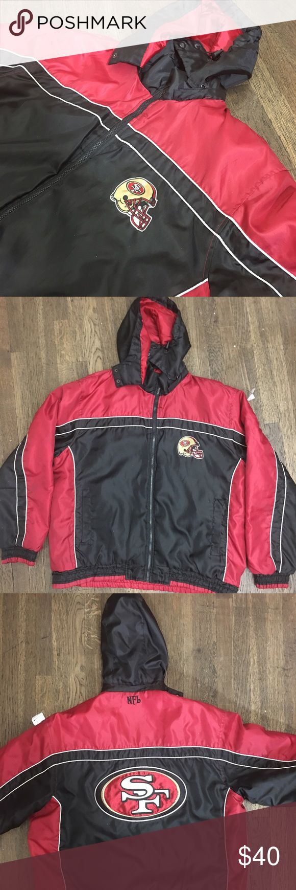NFL 49ers Jacket Very nice NFL 49ers jacket size Large. Helmet patch on front and big patch on back. Hood is removable too. No rips, holes, or stains. Very clean piece. $40 NFL Jackets & Coats Bomber & Varsity