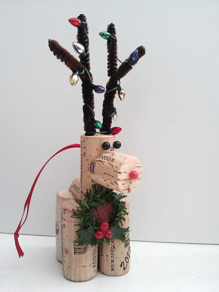 Handmade Wine Cork Reindeer Christmas ornaments/decorations. $9.95, via Etsy.