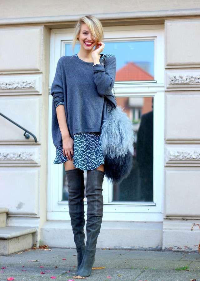 Tendenza stivali overknee sopra il ginocchio per l'inverno - Look con stivali overknee