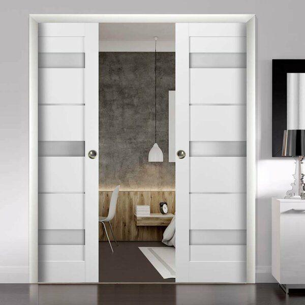 Quadro Glass Sliding Closet Doors With Installation Hardware Kit In 2021 Sliding Closet Doors Glass Doors Interior Sliding Doors Interior