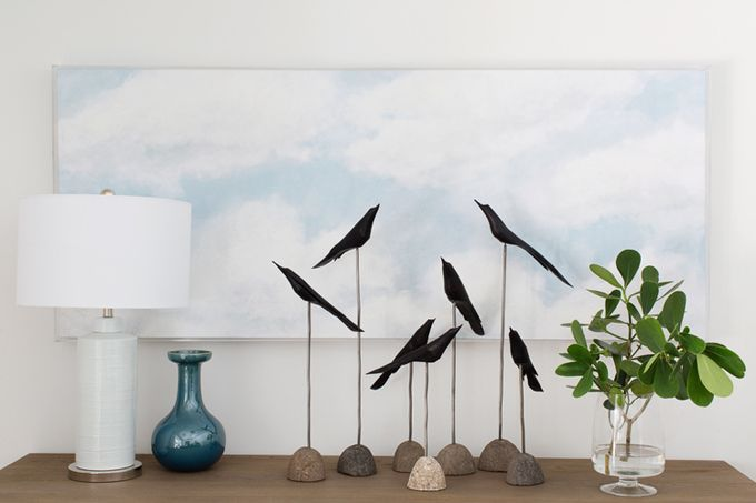 bird figurines in front of a sky painting | Lischkoff Design Planning