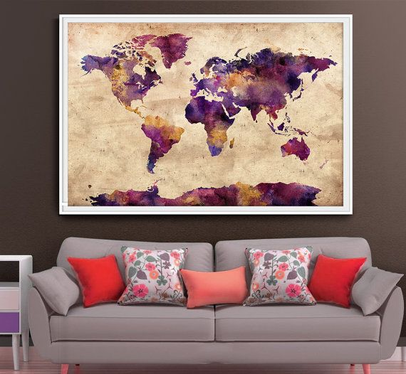 Extra large wall art World Map extra large art by FineArtCenter