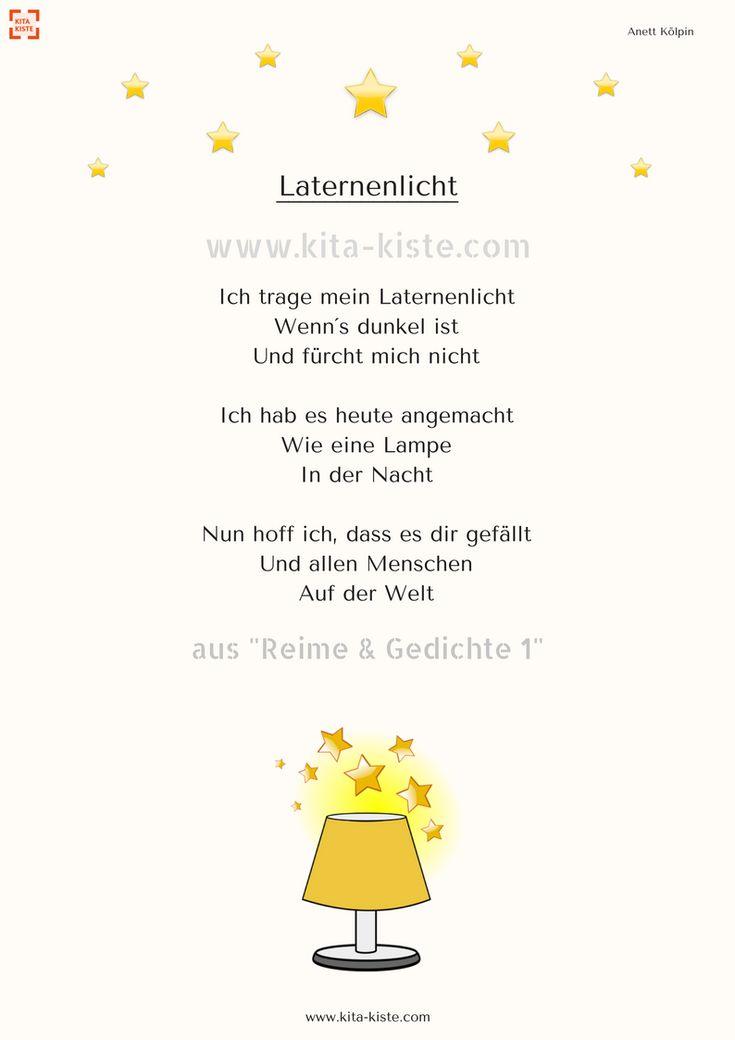 """Laternen-Gedicht für den #kindergarten – aus """"Reime & Gedichte 1"""" – SHOP: www.k… – Olga"""