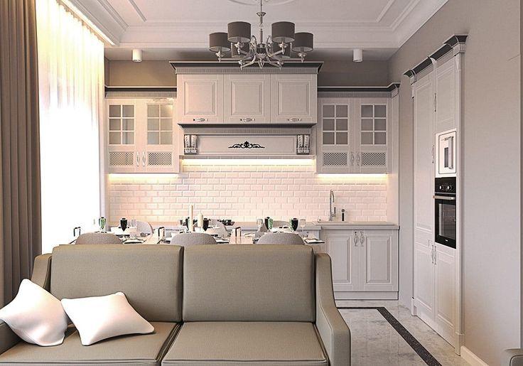 Кухня/столовая в  цветах:   Белый, Светло-серый, Серый, Темно-коричневый, Бежевый.  Кухня/столовая в  стиле:   Неоклассика.