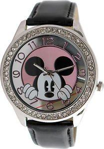 Disney Mickey Mouse Women's MK1236 Rhinestone Accent Dial Black Strap Watch