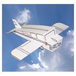 Avion en carton à assembler et à colorier, avec 6 feutres