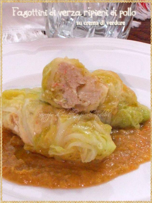 Fagottini di verza ripieni di pollo su crema di verdure ( Cabbage rolls stuffed with chicken with cream of vegetables)