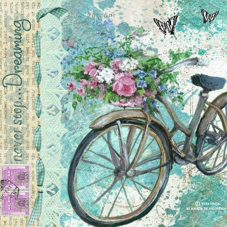 Láminas decoupage con bicicletas, flores, hadas, collages digitales by Nena Kosta