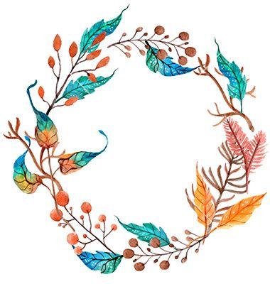Watercolor flower wreath background vector by Elmiko on VectorStock®