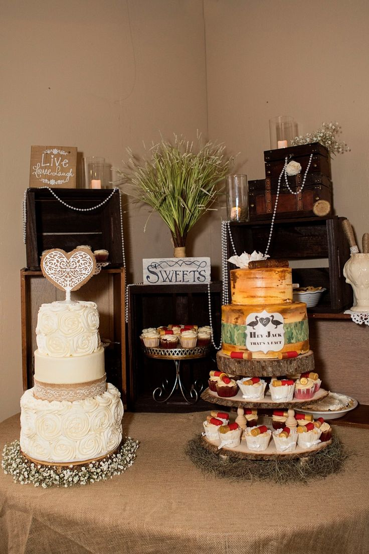 Rustic Chic Wedding and Grooms cake -Duck Dynasty themed grooms cake and Burlap/rosettes buttercream iced wedding cake