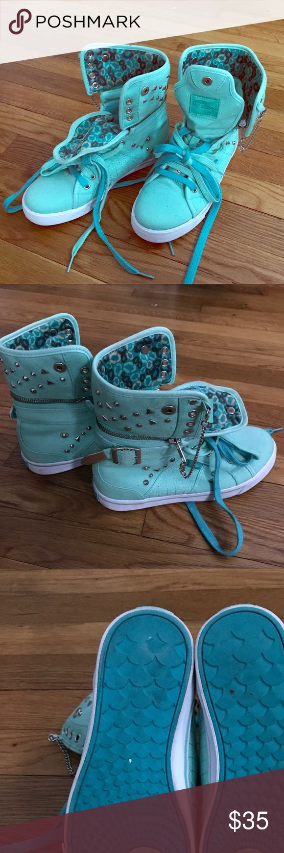 Pastry brand dance high tops Size 7 women's Pastry brand high tops, worn twice, like new! Turquoise with silver studs and zippers can be used for dance or fashion. Top part can zip off to be a low top. Pattern on the inside can be shown or hidden, very versatile. pastry Shoes Sneakers