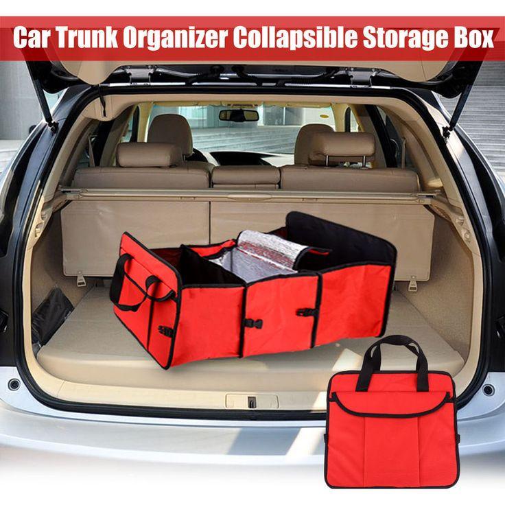 Folding Fabric Storage Box 3 Compartments Portable Car Trunk Organizer Auto Supplies Car Back Folding Storage Box Multi-Use Tool