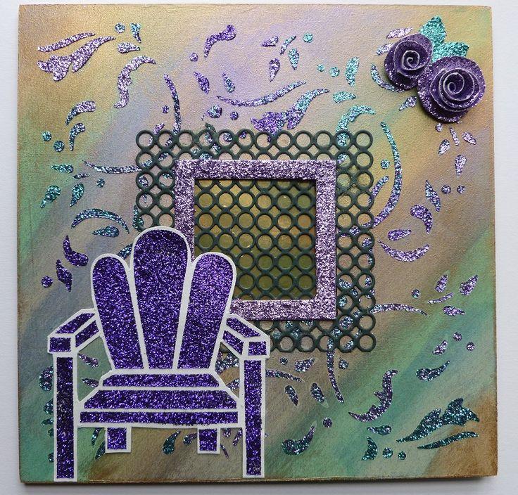 'Garden seat, hanging wall plaque, front. - Imagination Craft's - MDF front piece only. 'Garden chair' stencil. Magi-bond glue. Metal spatula. Detail Sparkle -  Jade sea & Lilac purple velvet. Mica powders.Magi-blend blending solution.   Memory Box 'Trellis' die.   August 2013.