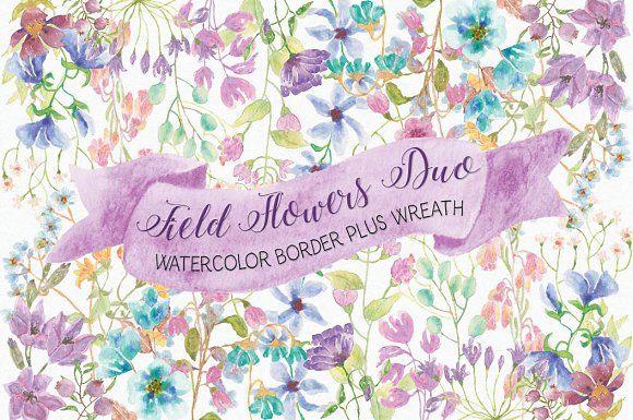 Field flowers: border plus wreath by Lolly's Lane Shoppe on @creativemarket