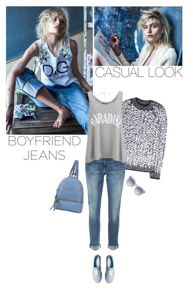 """""""bf jeans"""" by helena99 ❤ liked on Polyvore featuring Balmain, Current/Elliott, Gestuz, Vans, MICHAEL Michael Kors, Gucci, Alice + Olivia, casualoutfit, boyfriendjeans and sweaters"""