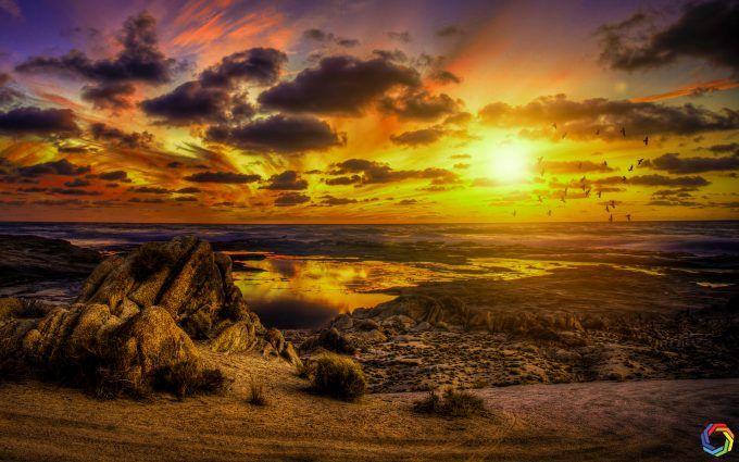 Birds Sunset Clouds Hd 4k Wallpaper Free Sunset Clouds Wallpaper