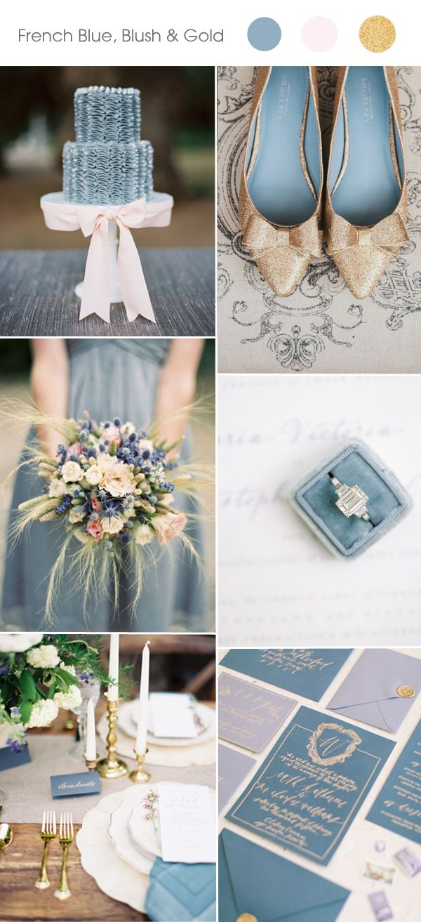 Frech blue, blush and gold spring summer wedding color ideas and trends