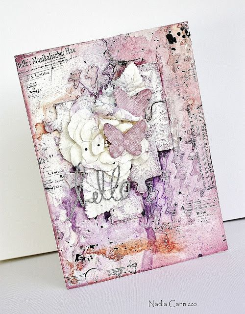 A mixed media card for Donna Salazar Designs! - Nadia Cannizzo