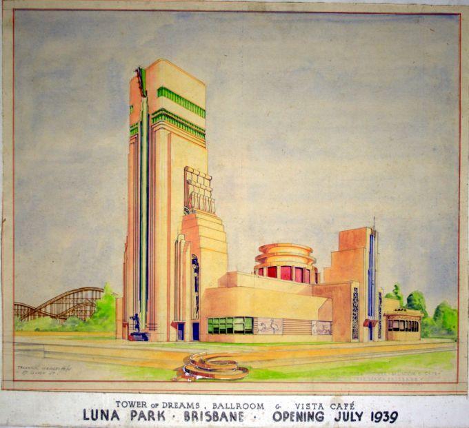 Cloudland was originally conjured up as Brisbane's Luna Park by a man who dreamed big. Original art work here (not the way it was built). Luna Park never opened, but the ballroom became Cloudland.