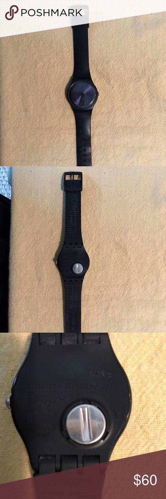 Black on Black Swatch Rubber Watch Gently used - very little ware - only wore a handful of times - color is black on black Swatch Accessories Watches