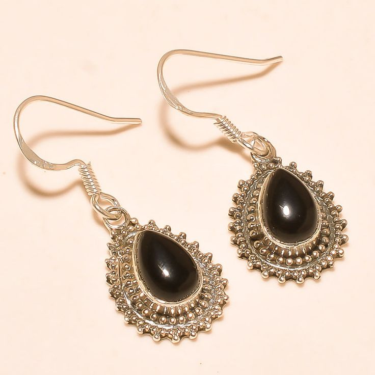 92.5% SOLID STERLING SILVER SPARKLING PEAR SHAPE BLACK SPINEL EARRING 3.10 CM #Handmade