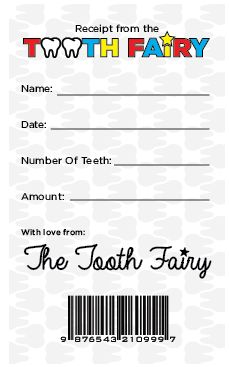Free printable Tooth Fairy receipt to celebrate National Tooth Fairy Day.