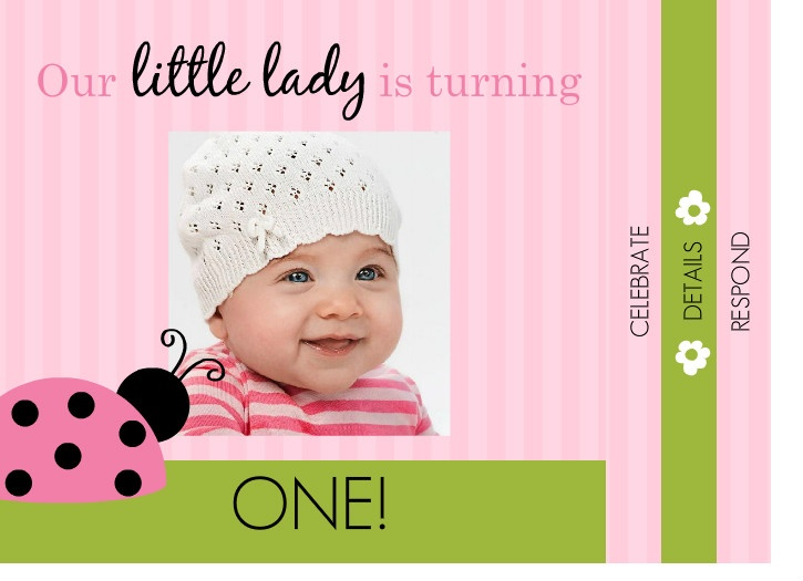 Pink And Green Ladybug 1st Birthday Booklet Invite by PurpleTrail – First Birthday Sayings for Invitations