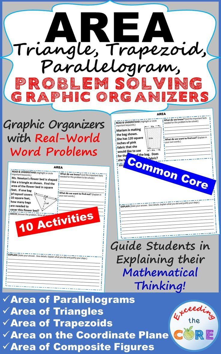 Get your students successfully understanding and solving real-world word problems that include AREA of TRIANGLES, PARALLELOGRAMS, & TRAPEZOIDS with these PROBLEM SOLVING GRAPHIC ORGANIZERS. Students must organize the information they are given, solve, JUSTIFY their work and EXPLAIN their solution. Perfect for math homework, math assessments, math stations. Area of Parallelograms, Triangles, Trapezoids, the Coordinate Plane, Composite Figures 6th Grade Math Common Core 6G1, 6G3