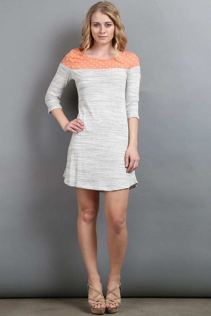 Coral Marble Jersey Polka Dot Quarter Sleeved Dress! #fashion #USA #streetwear #streetstyle #streetfashion #trend #outfit #fashionweek #fashionshow #beauty #Sleeveless