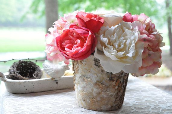 Pink Flower Centerpiece (1) - Birch Vase with Flowers  - Pink Wedding Flowers - Pink Centerpiece on Etsy, $59.00