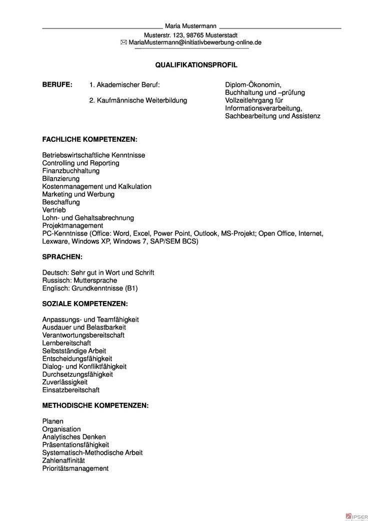83 besten Qualifikationsprofil Formulierung, Initiativbewerbung, i ...