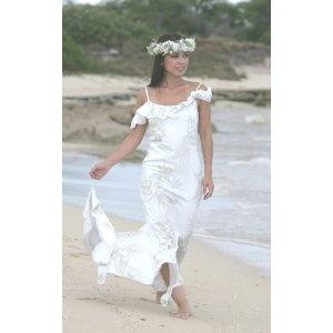 Queen Kaahumanu Hawaiian Wedding Holoku Alii Collection Print Beach Dress Arel