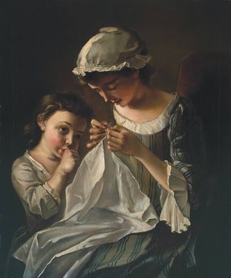 A Girl Sewing by Philip Mercier, ca 1750