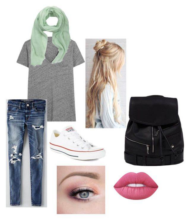 """Mellow night"" by mariahgosse on Polyvore featuring Madewell, American Eagle Outfitters, MANGO, Lime Crime and Converse"