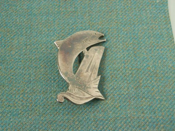 Scottish Salmon Brooch in Hallmarked by CallumKiltsJewellery
