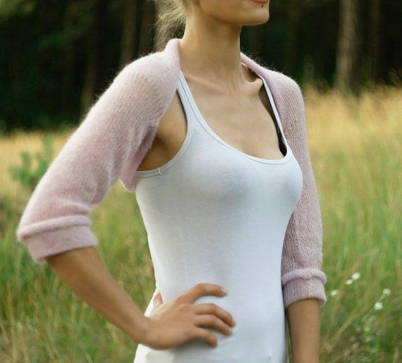 Ballet Shrug Bolero knit Baby pink Bridal Shrug mohair by supersoftknits- dance warmup
